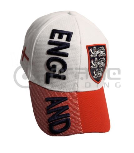 3D England Hat - White/Red