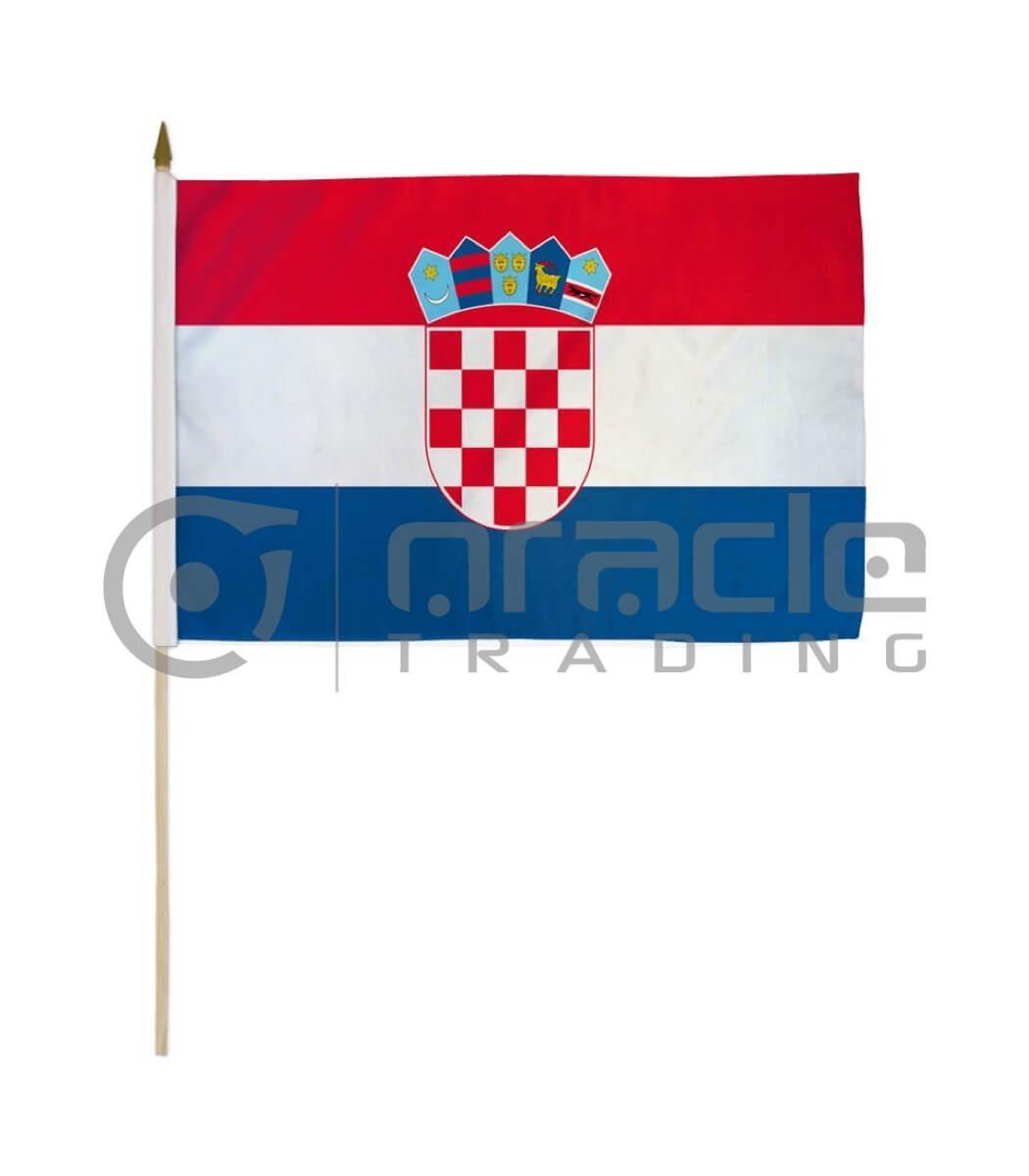 "Croatia Large Stick Flag - 12""x18"" - 12-Pack"