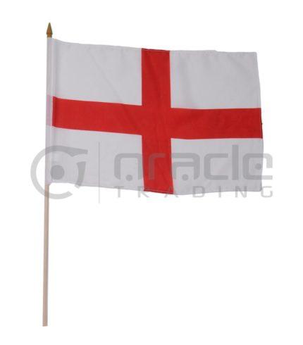 "England Large Stick Flag - 12""x18"" - 12-Pack"