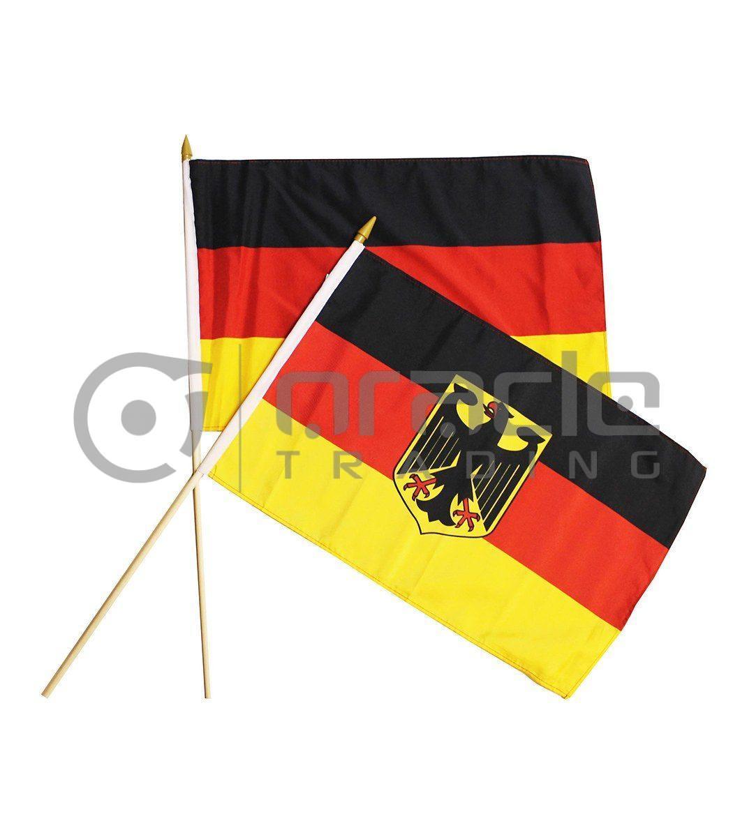 "Germany Plain Large Stick Flag - 12""x18"" - 12-Pack"