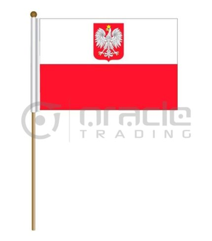 "Poland Large Stick Flag - 12""x18"" - 12-Pack"