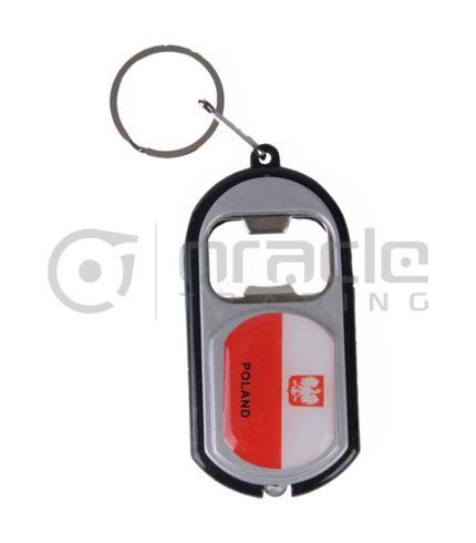 Poland Flashlight Bottle Opener Keychain 12-Pack