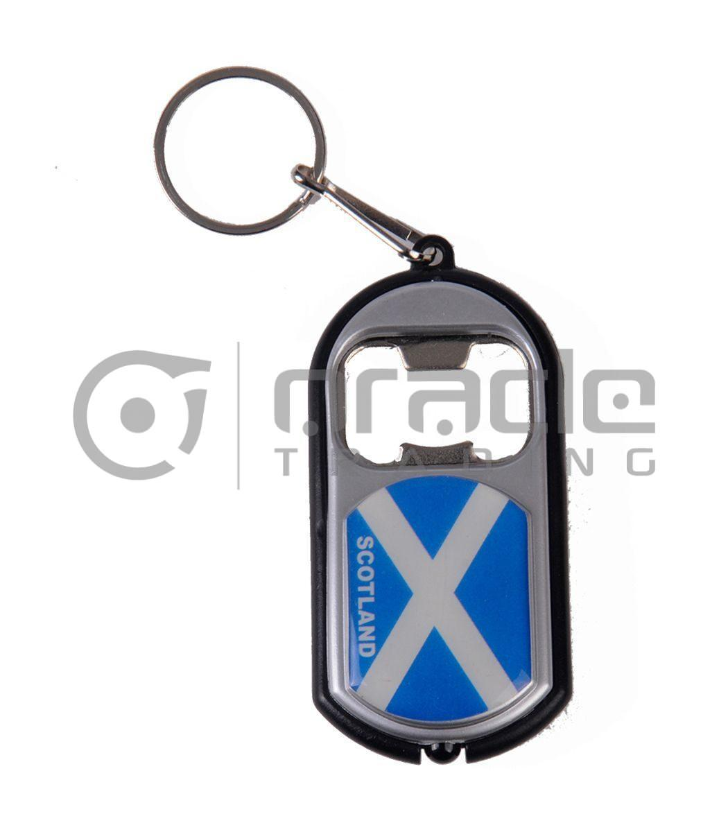 Scotland Flashlight Bottle Opener Keychain 12-Pack