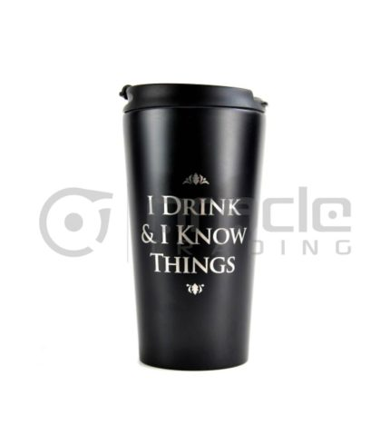 I Drink & I Know Things Metal Travel Mug (Game of Thrones) - Premium