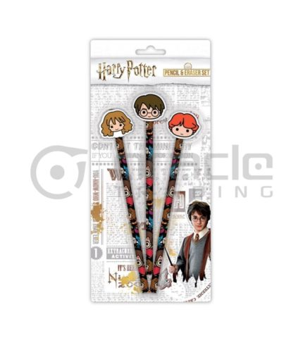 Harry Potter 3-PK Pencil & Eraser Set