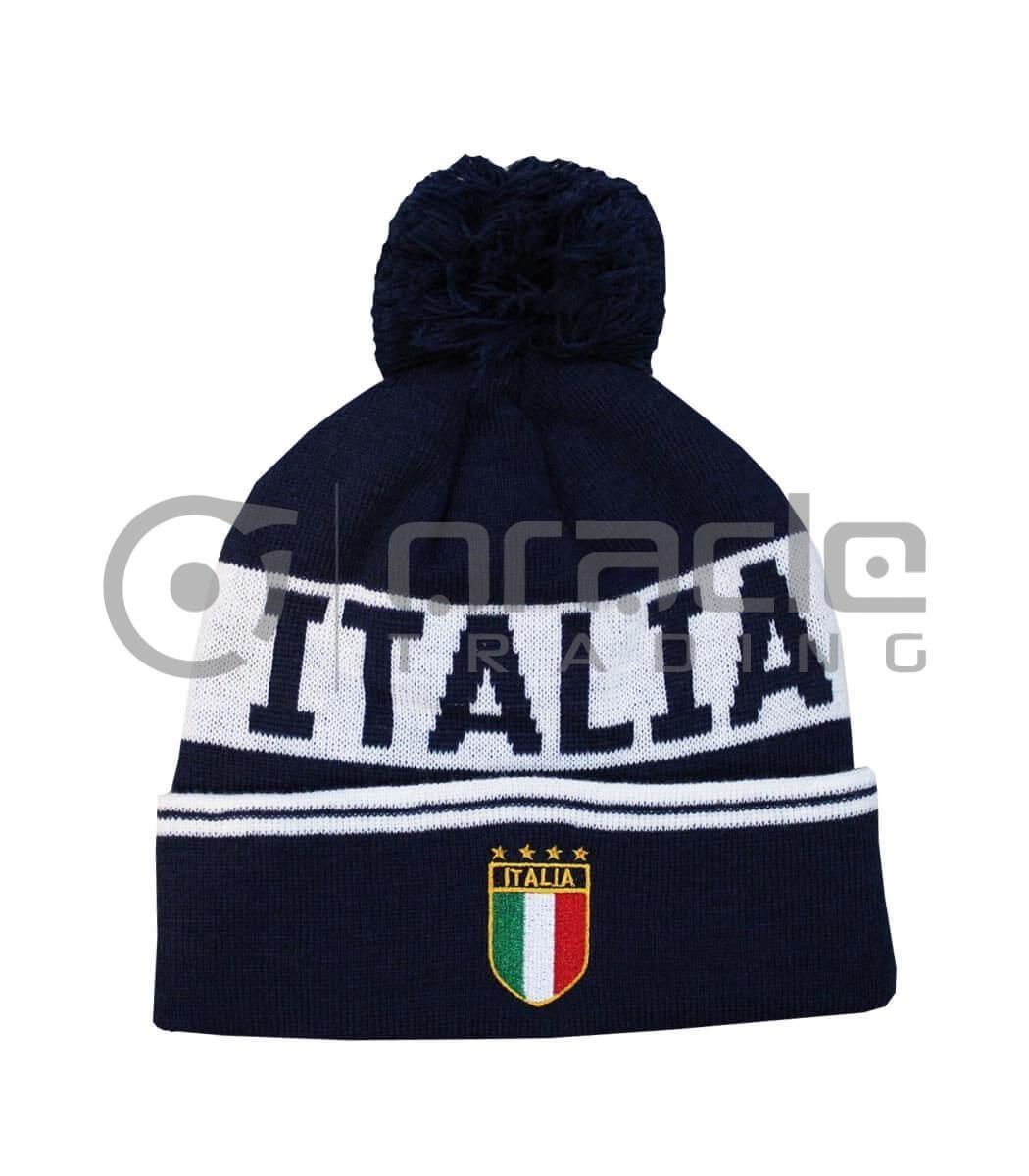 Italia Pom Beanie (Navy)