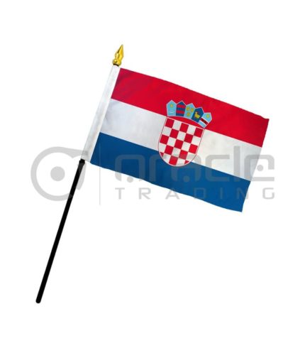 "Croatia Small Stick Flag - 4""x6"" - 12-Pack"
