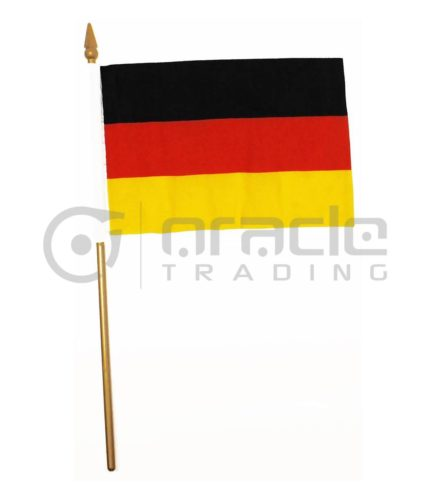 "Germany Plain Small Stick Flag - 4""x6"" - 12-Pack"