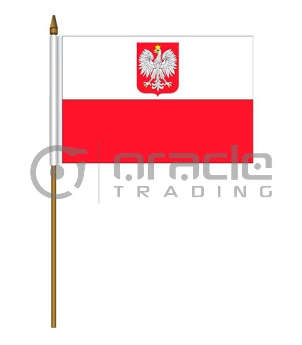 "Poland Small Stick Flag - 4""x6"" - 12-Pack"