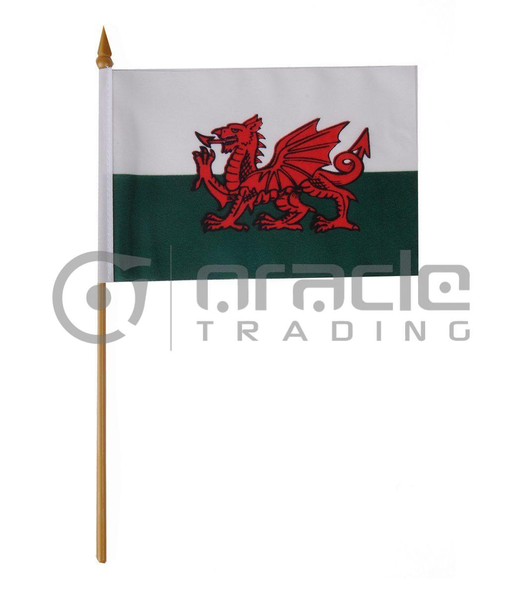 """Wales Small Stick Flag - 4""""x6"""" - 12-Pack"""
